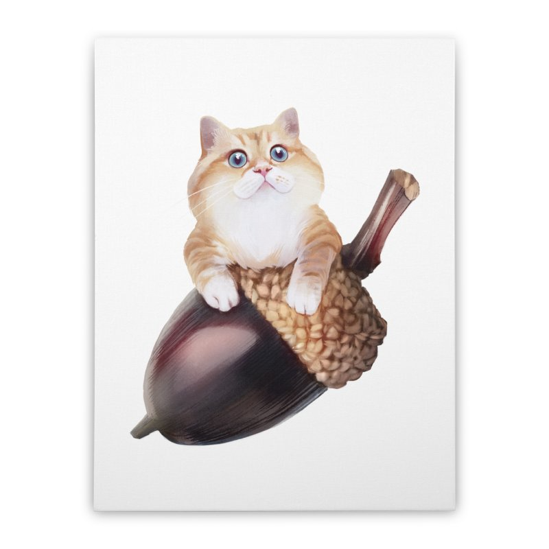Hosico and acorn Home Stretched Canvas by Hosico's Shop