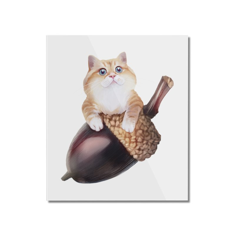 Hosico and acorn Home Mounted Acrylic Print by Hosico's Shop