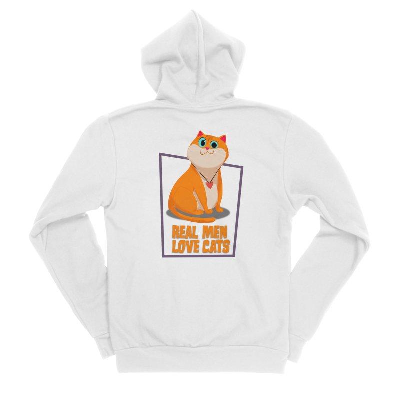 Real Men Love Cats Men's Sponge Fleece Zip-Up Hoody by Hosico's Shop