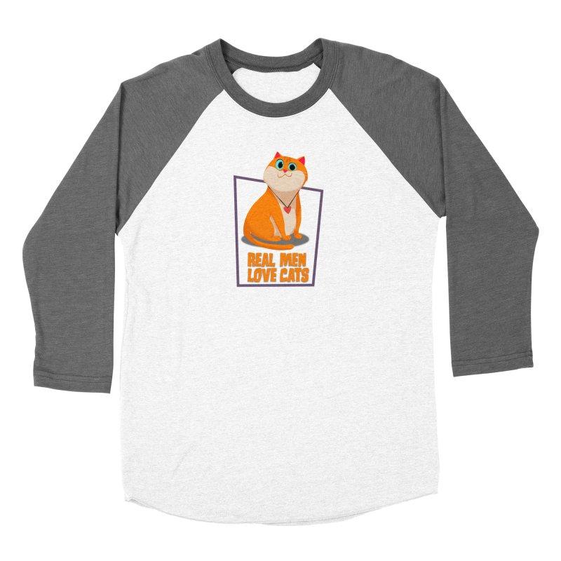 Real Men Love Cats Women's Baseball Triblend Longsleeve T-Shirt by Hosico's Shop