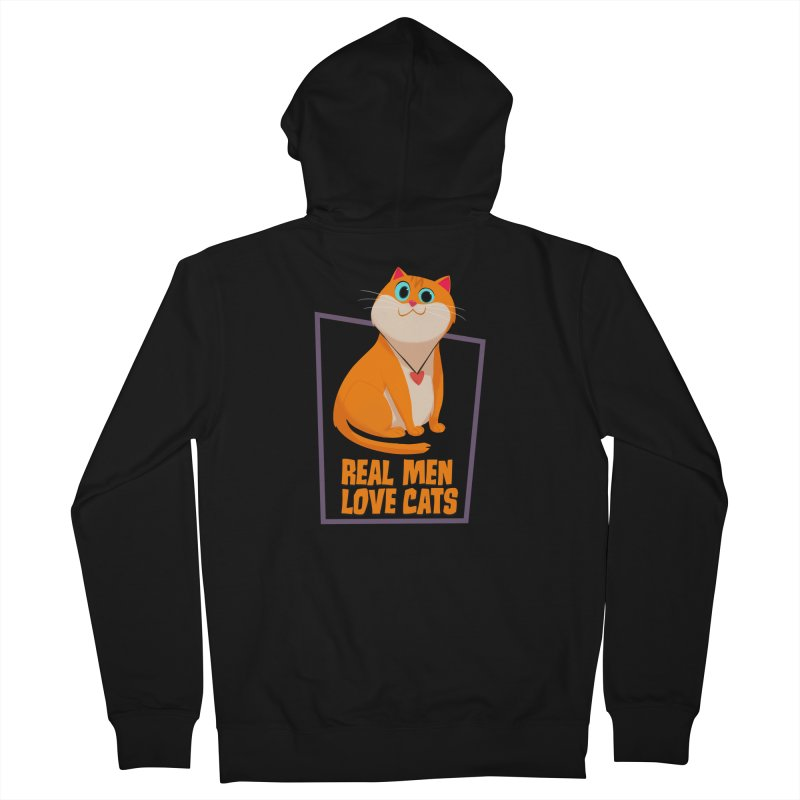 Real Men Love Cats Men's French Terry Zip-Up Hoody by Hosico's Shop