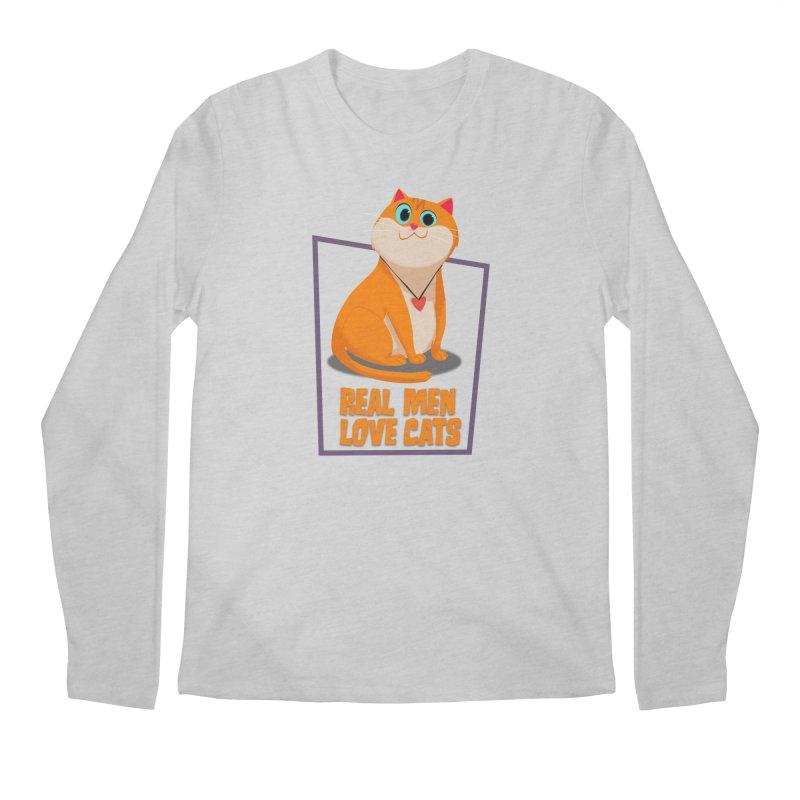 Real Men Love Cats Men's Regular Longsleeve T-Shirt by Hosico's Shop