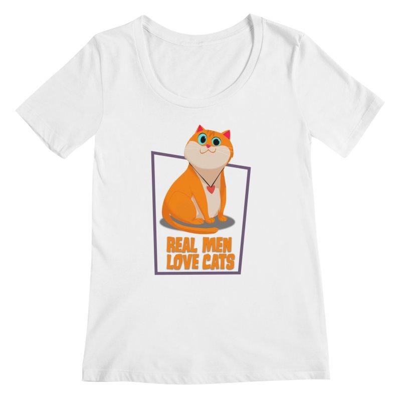Real Men Love Cats Women's Regular Scoop Neck by Hosico's Shop