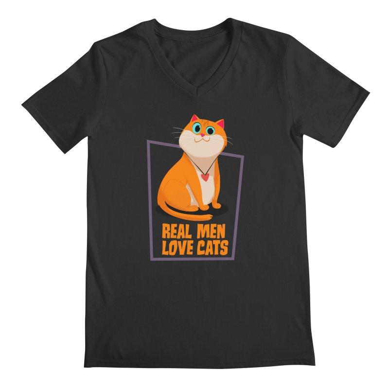 Real Men Love Cats Men's Regular V-Neck by Hosico's Shop
