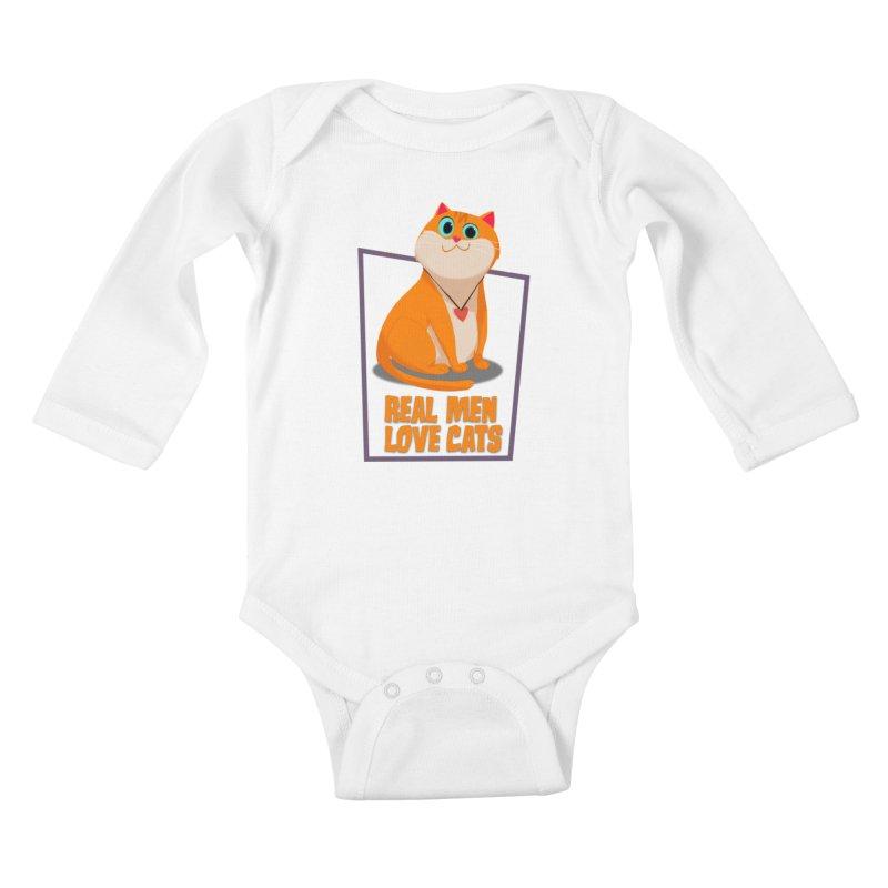 Real Men Love Cats Kids Baby Longsleeve Bodysuit by Hosico's Shop