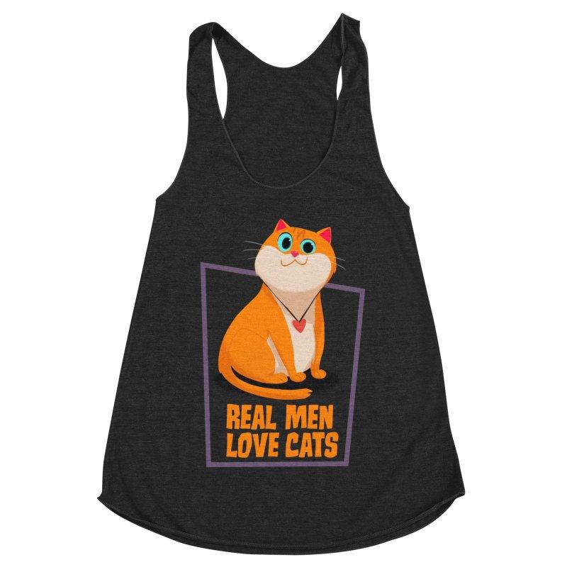 Real Men Love Cats Women's Racerback Triblend Tank by Hosico's Shop