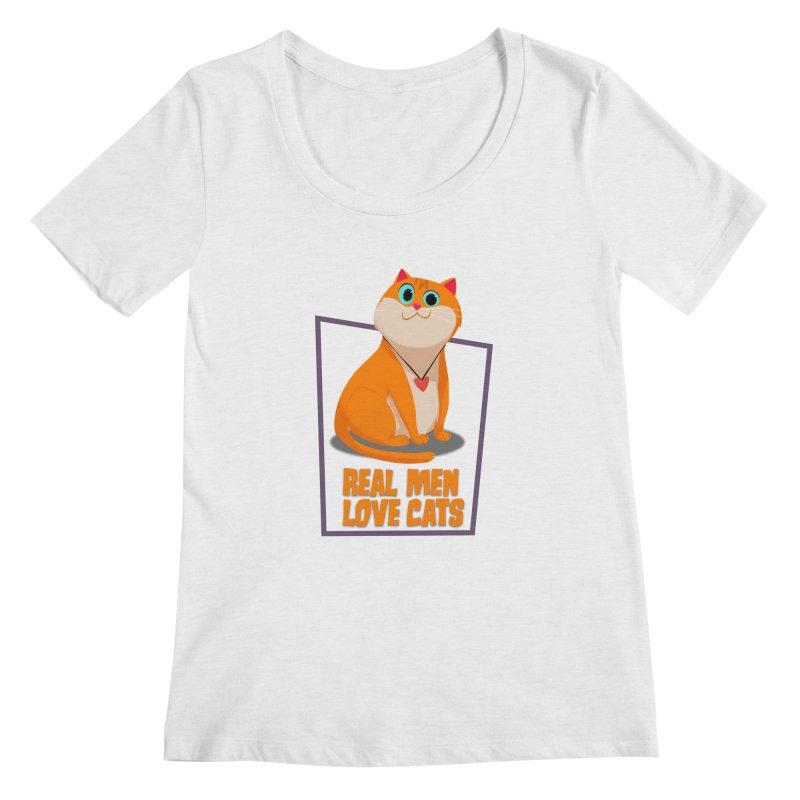 Real Men Love Cats Women's Scoop Neck by Hosico's Shop