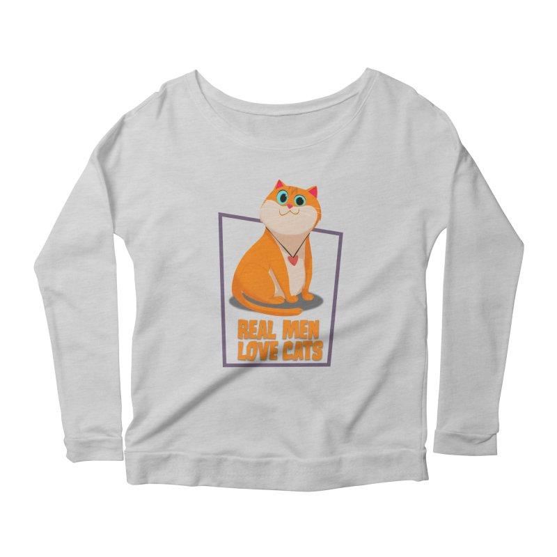 Real Men Love Cats Women's Scoop Neck Longsleeve T-Shirt by Hosico's Shop