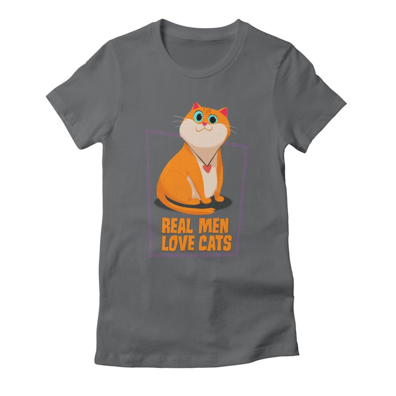 Real Men Love Cats Women's Fitted T-Shirt by Hosico's Shop