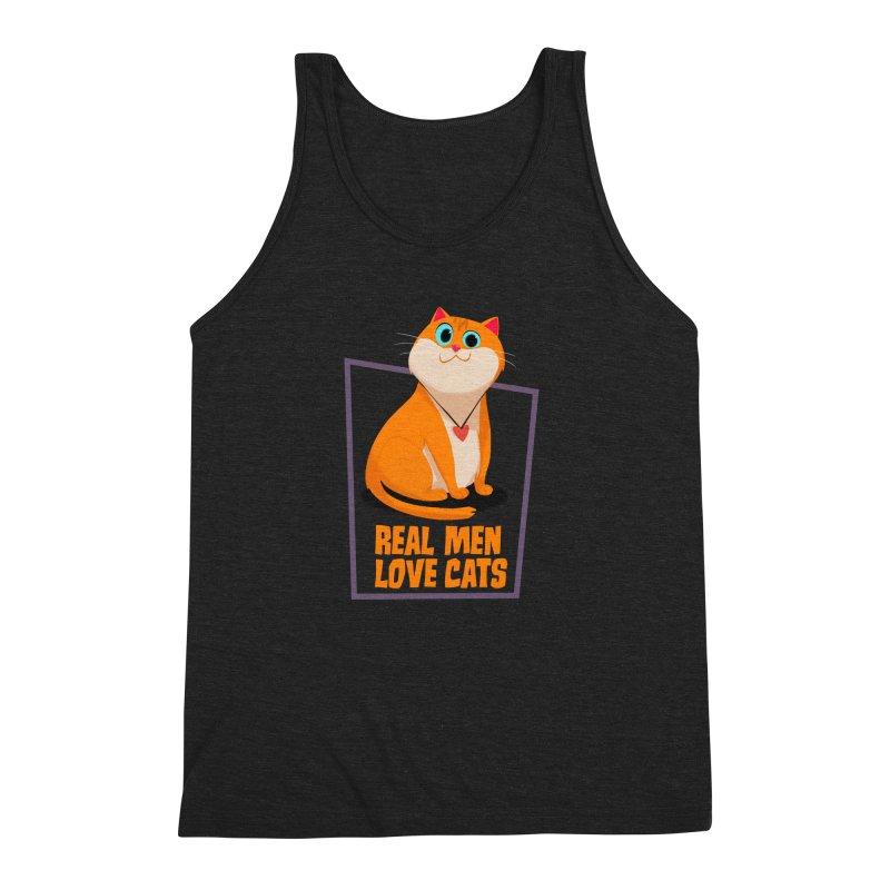Real Men Love Cats Men's Triblend Tank by Hosico's Shop
