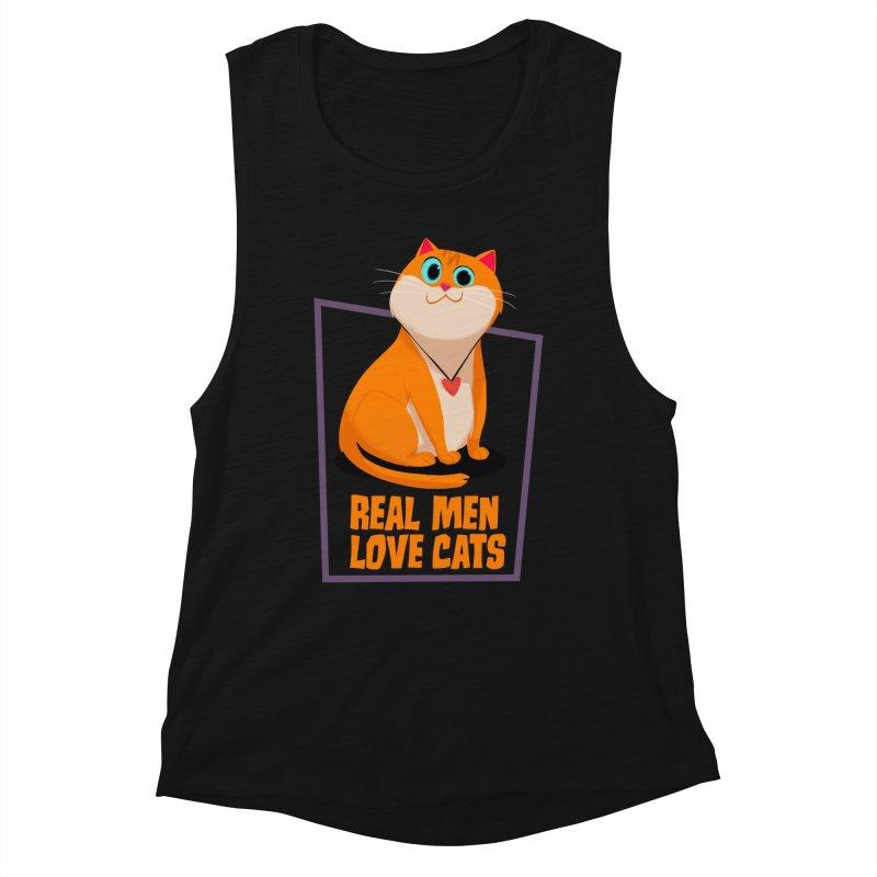 Real Men Love Cats Women's Muscle Tank by Hosico's Shop