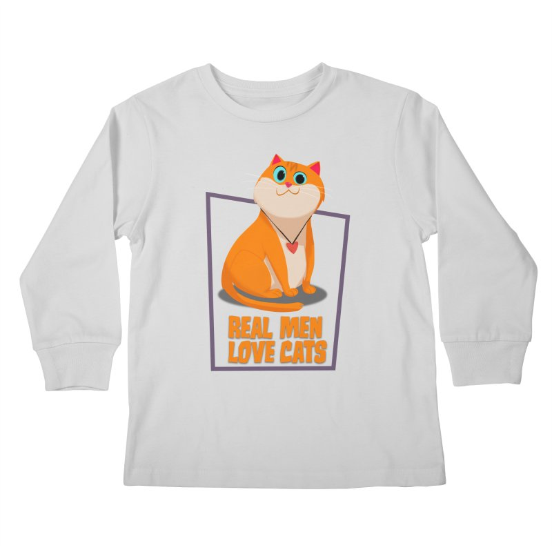 Real Men Love Cats Kids Longsleeve T-Shirt by Hosico's Shop