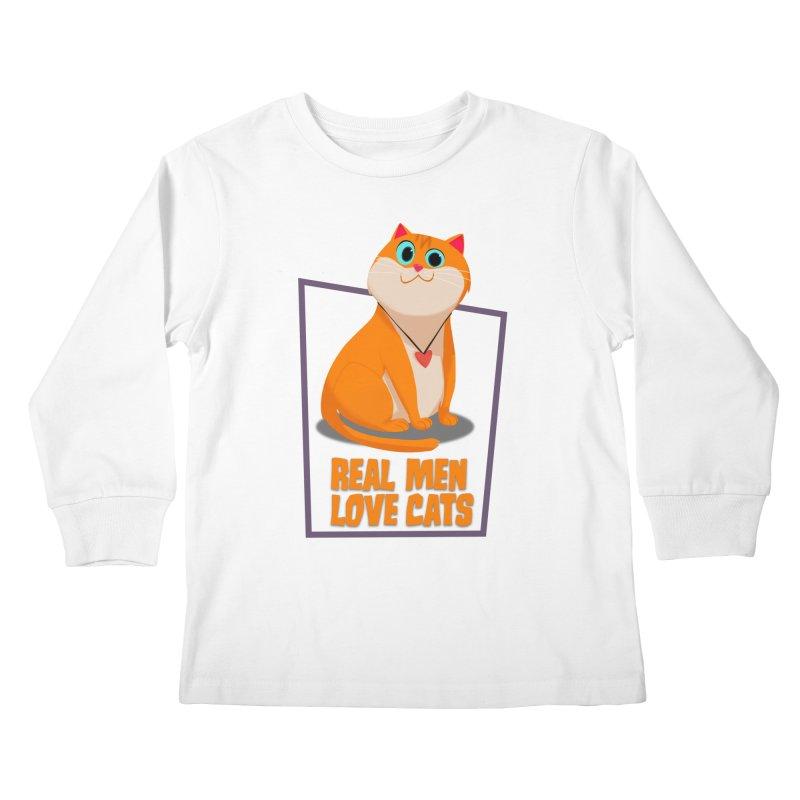 Real Men Love Cats Kids Longsleeve T-Shirt by Hosico's Shop