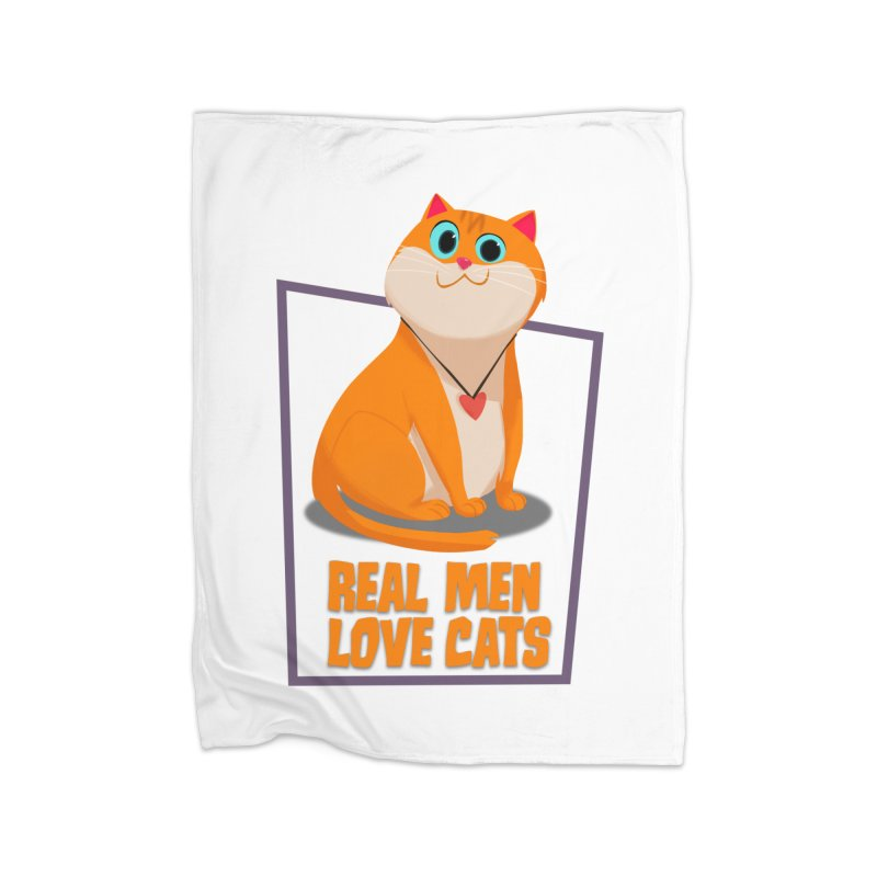 Real Men Love Cats Home Fleece Blanket Blanket by Hosico's Shop