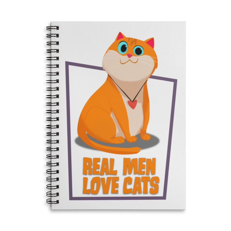Real Men Love Cats Accessories Lined Spiral Notebook by Hosico's Shop