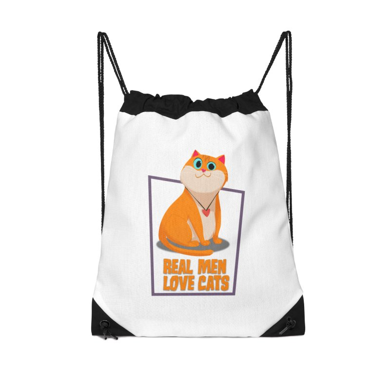Real Men Love Cats Accessories Drawstring Bag Bag by Hosico's Shop