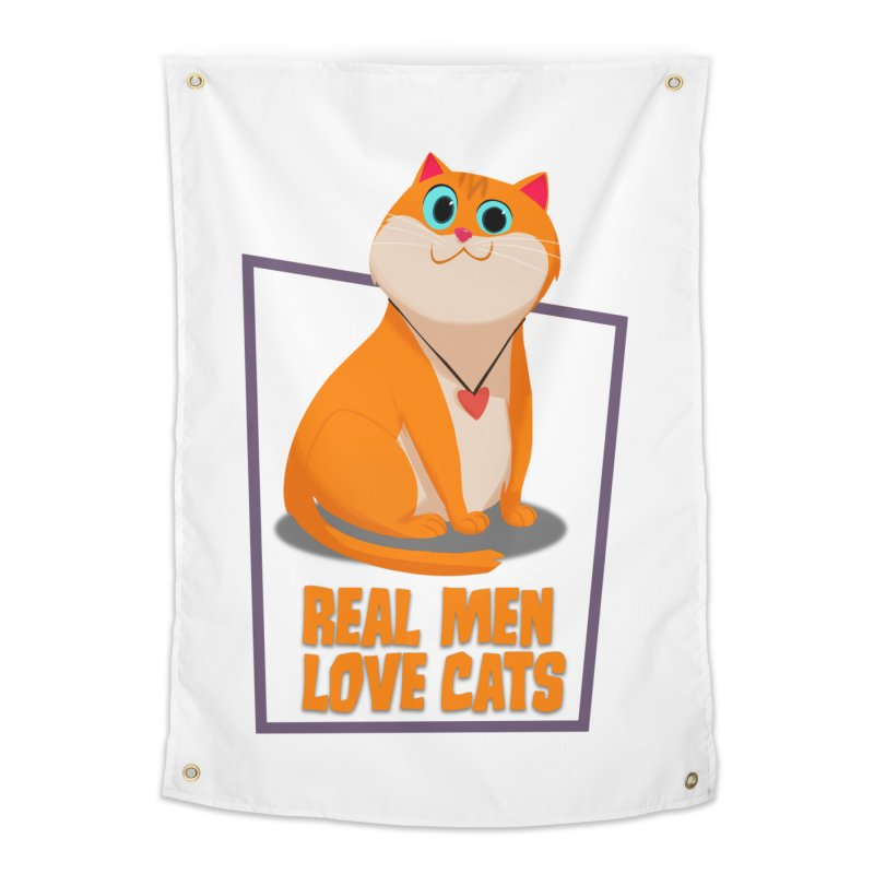 Real Men Love Cats Home Tapestry by Hosico's Shop