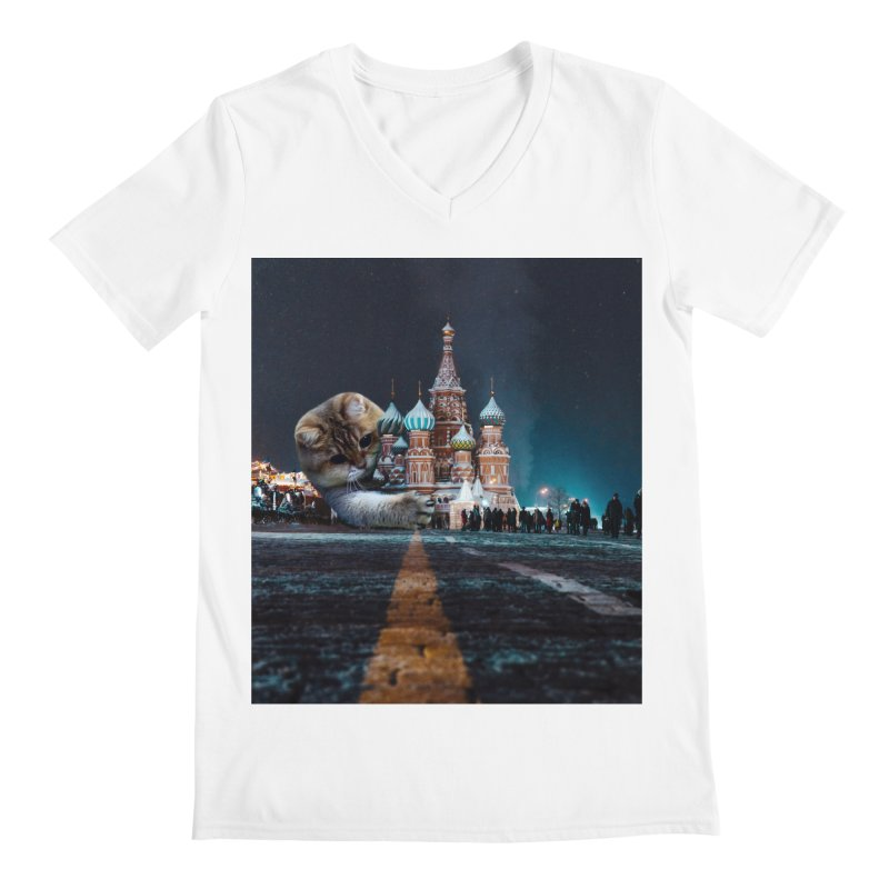 Saint Basil's Cathedral and Hosico Men's V-Neck by Hosico's Shop