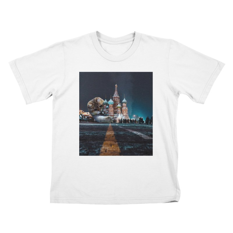 Saint Basil's Cathedral and Hosico Kids T-Shirt by Hosico's Shop