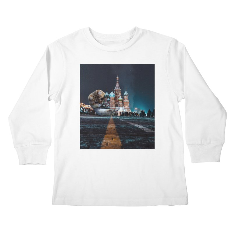 Saint Basil's Cathedral and Hosico Kids Longsleeve T-Shirt by Hosico's Shop
