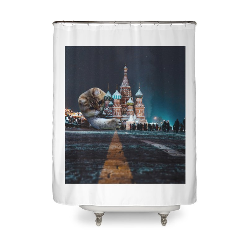 Saint Basil's Cathedral and Hosico Home Shower Curtain by Hosico's Shop