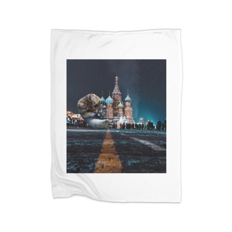 Saint Basil's Cathedral and Hosico Home Fleece Blanket Blanket by Hosico's Shop