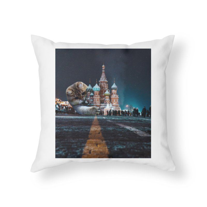 Saint Basil's Cathedral and Hosico Home Throw Pillow by Hosico's Shop