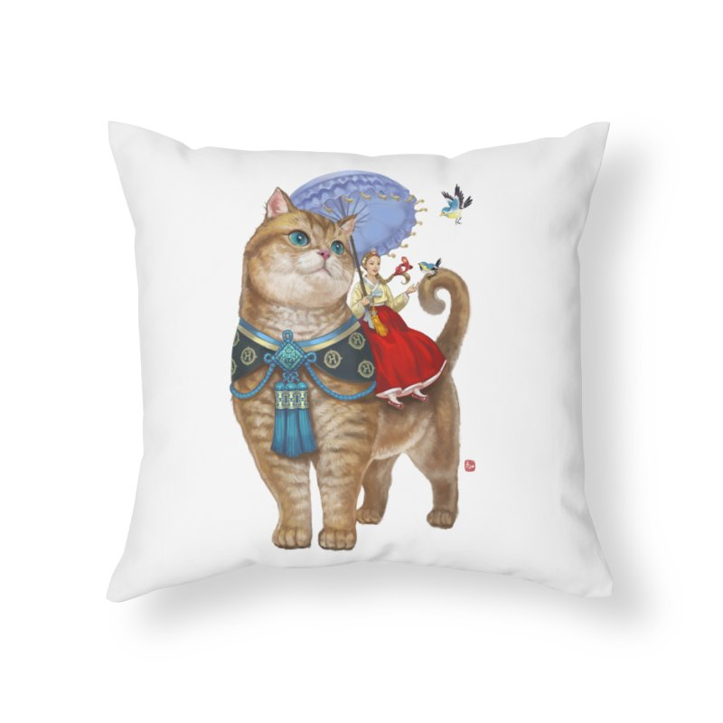 Hosico Hanbok in Throw Pillow by Hosico's Artist Shop