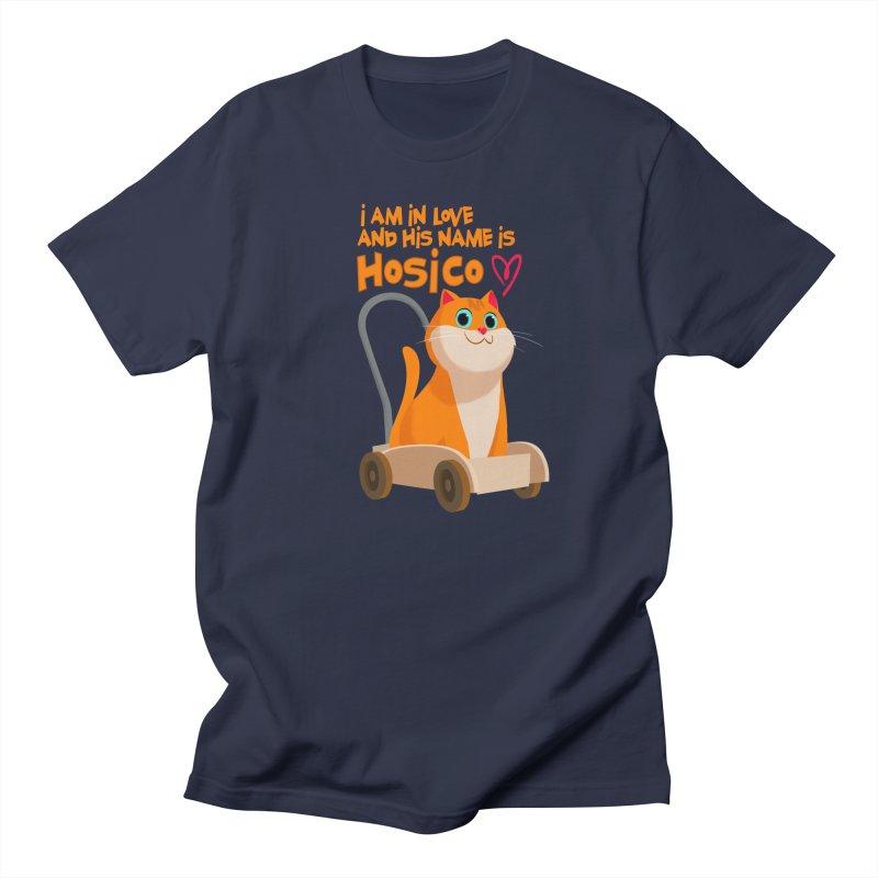 I am in love and his name is Hosico in Men's T-shirt Navy by Hosico's Artist Shop