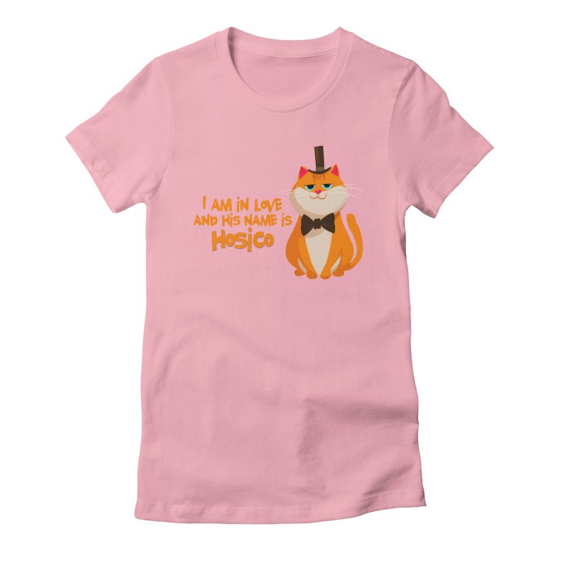 I am in love and his name is Hosico in Women's Fitted T-Shirt Light Pink by Hosico's Artist Shop
