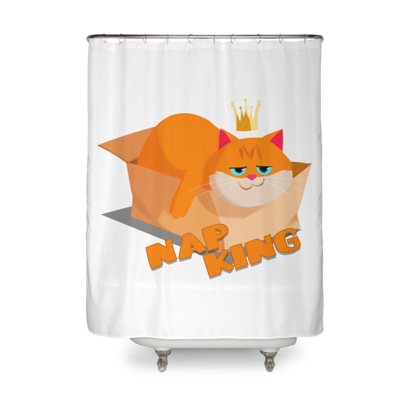Nap King Home Shower Curtain by Hosico's Artist Shop