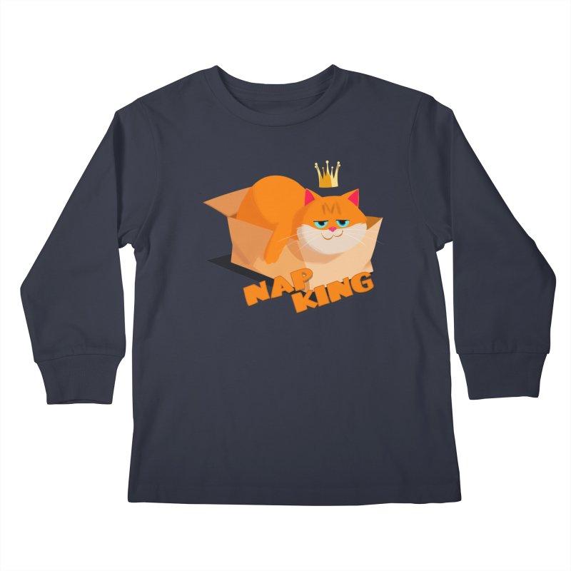 Nap King Kids Longsleeve T-Shirt by Hosico's Artist Shop