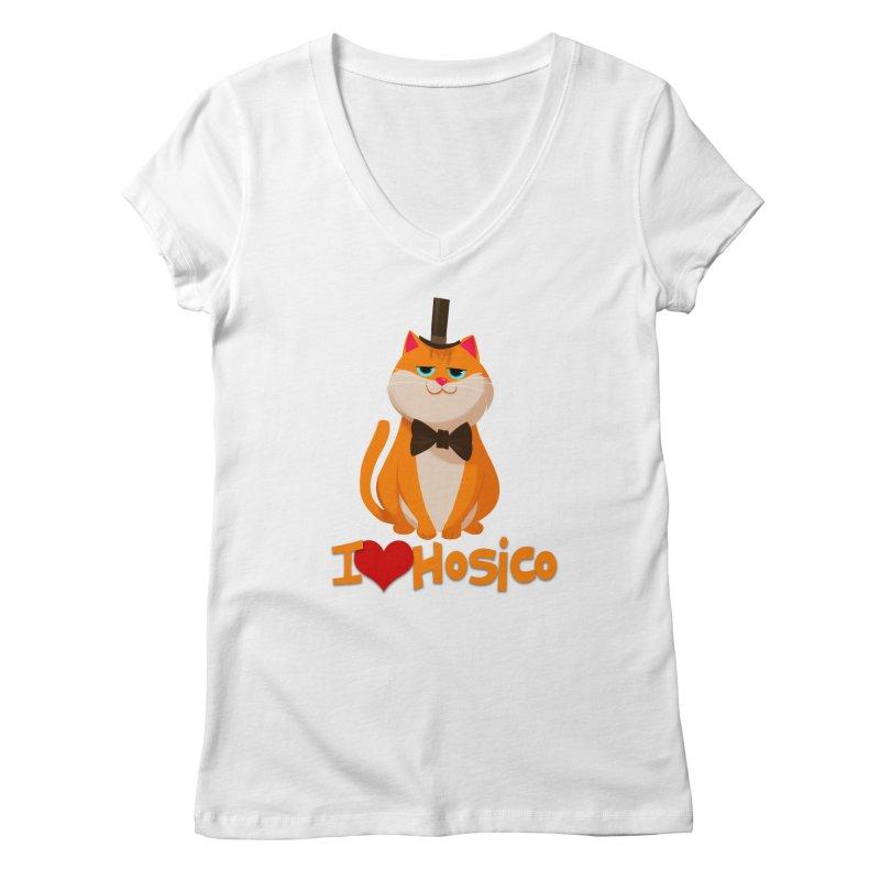 I Love Hosico Women's V-Neck by Hosico's Artist Shop