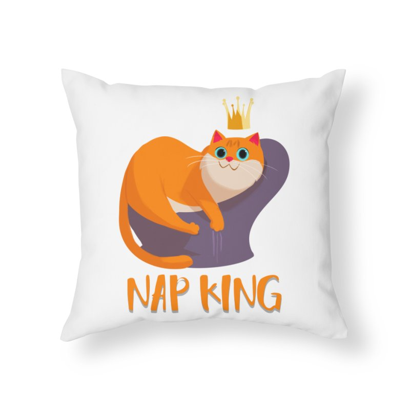Nap King Home Throw Pillow by Hosico's Artist Shop