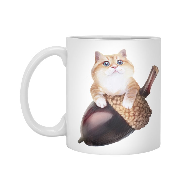 Hosico and acorn in Standard Mug White by Hosico's Shop
