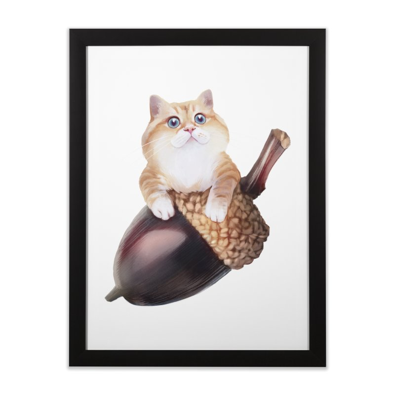 Hosico and acorn Home Framed Fine Art Print by Hosico's Shop
