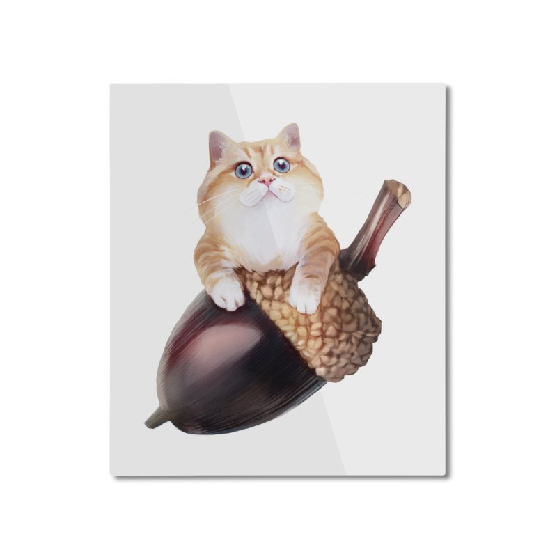 Hosico and acorn Home Mounted Aluminum Print by Hosico's Shop