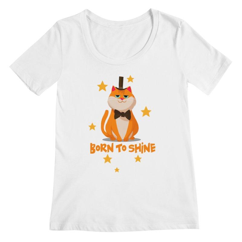 Born To Shine Women's Regular Scoop Neck by Hosico's Shop
