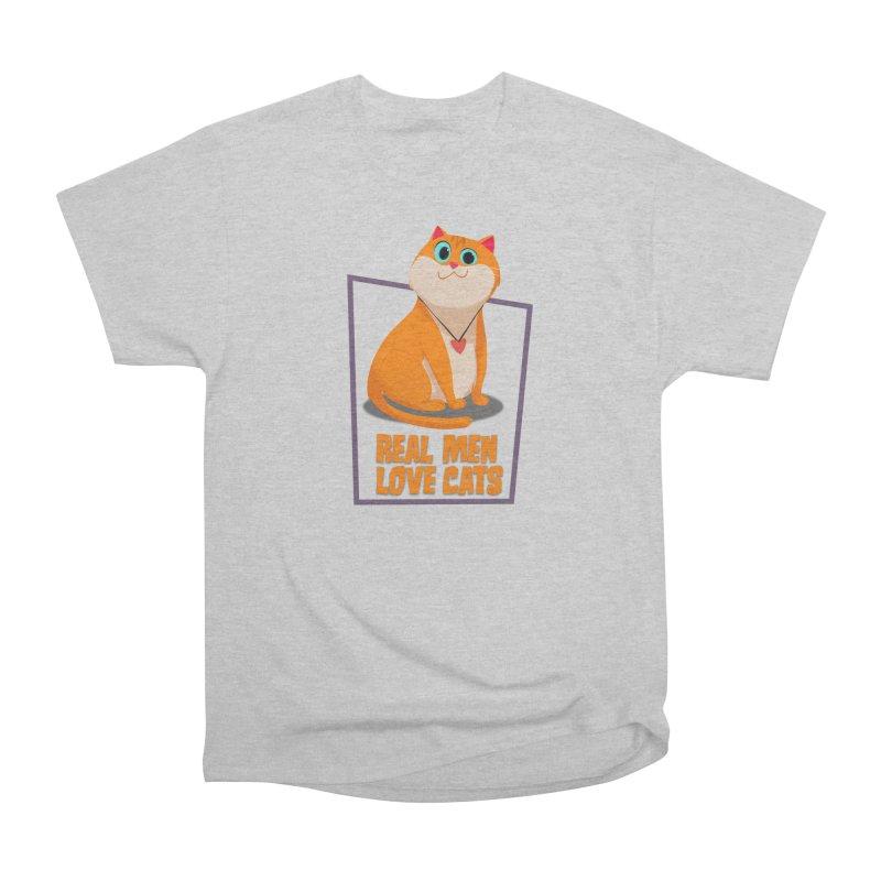 Real Men Love Cats Women's Heavyweight Unisex T-Shirt by Hosico's Shop