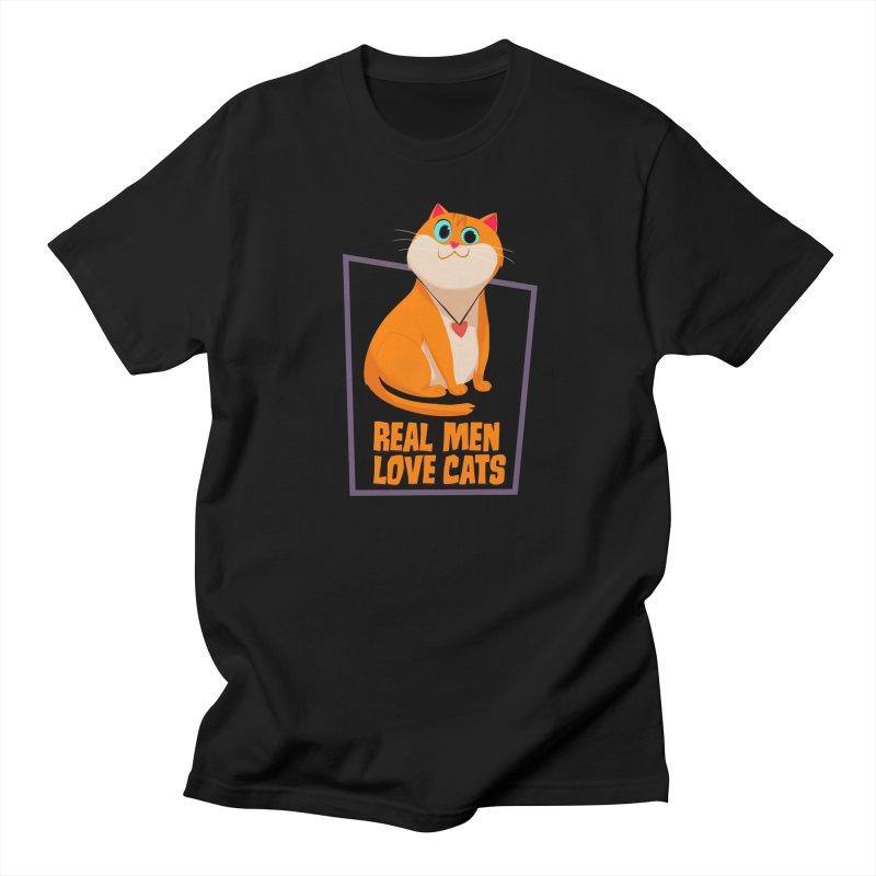 Real Men Love Cats Men's Regular T-Shirt by Hosico's Shop