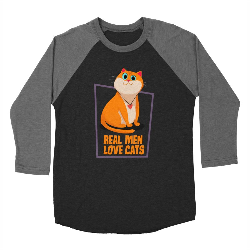 Real Men Love Cats Women's Baseball Triblend T-Shirt by Hosico's Shop