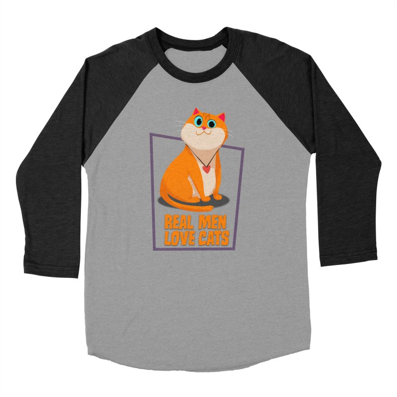 Real Men Love Cats Men's Baseball Triblend T-Shirt by Hosico's Shop