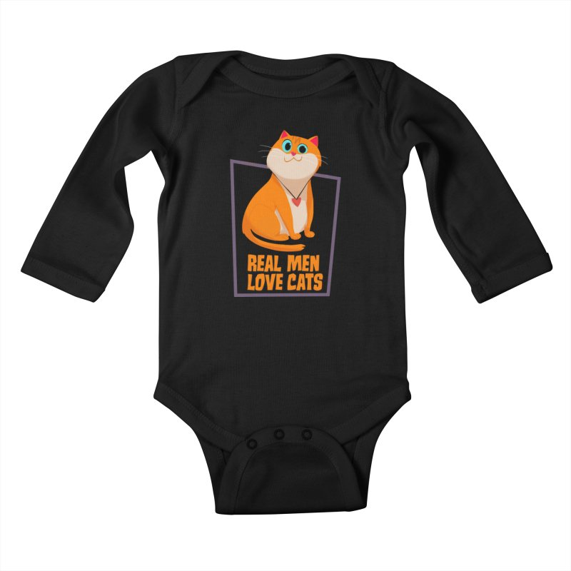 Real Men Love Cats Kids Baby Longsleeve Bodysuit by Hosico's Shop