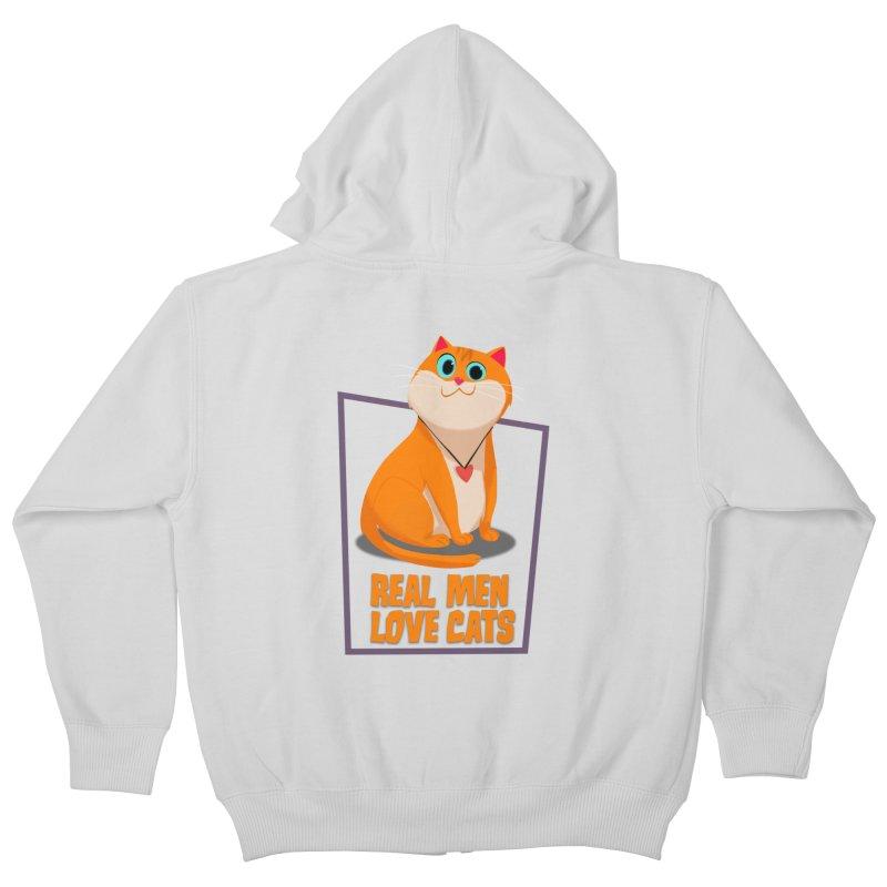Real Men Love Cats Kids Zip-Up Hoody by Hosico's Shop