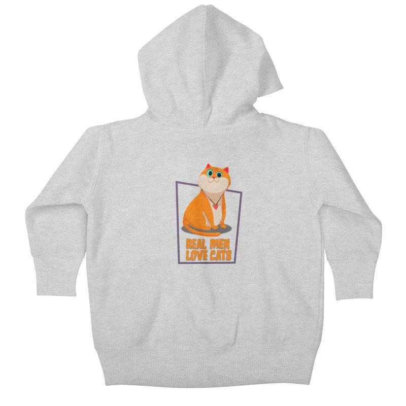 Real Men Love Cats Kids Baby Zip-Up Hoody by Hosico's Shop