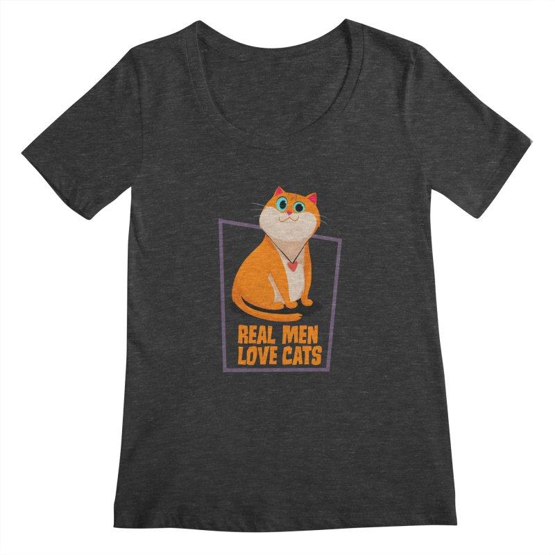 Real Men Love Cats Women's Scoopneck by Hosico's Shop