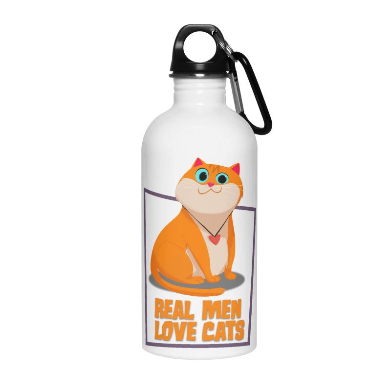 Real Men Love Cats Accessories Water Bottle by Hosico's Shop