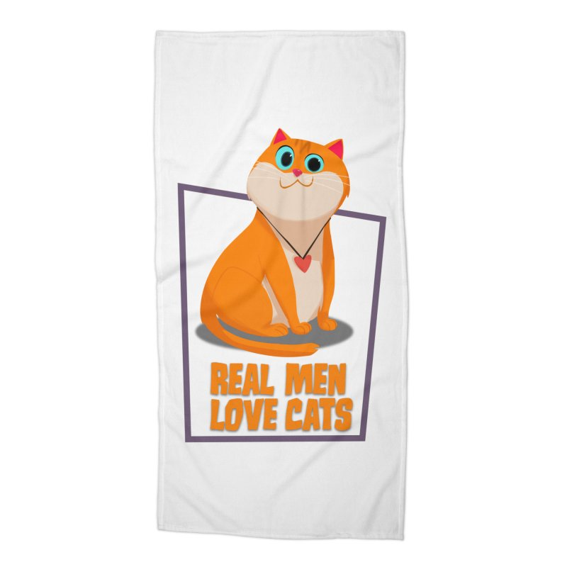 Real Men Love Cats Accessories Beach Towel by Hosico's Shop
