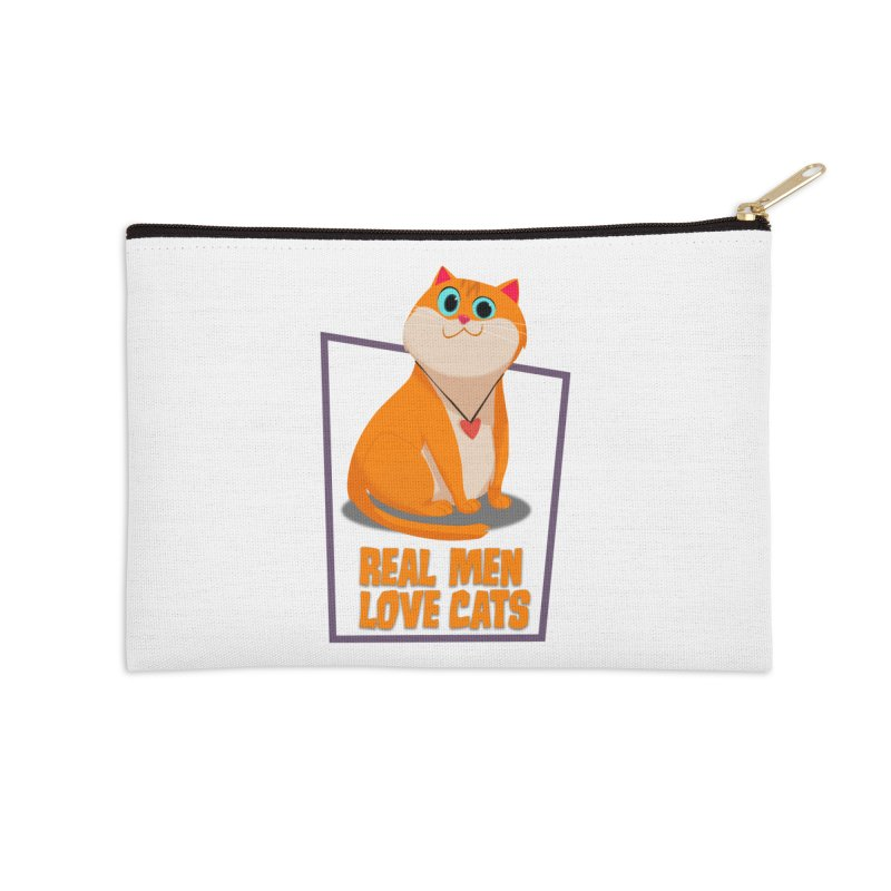 Real Men Love Cats Accessories Zip Pouch by Hosico's Shop