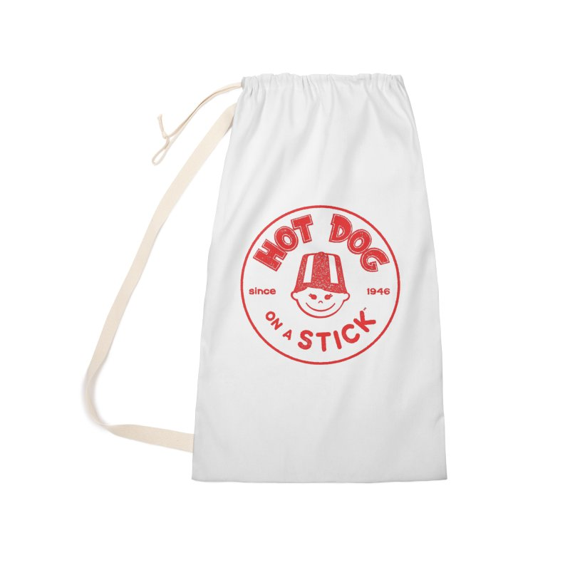 Hot Dog on a Stick Red Logo Accessories Laundry Bag Bag by Hot Dog On A Stick's Artist Shop